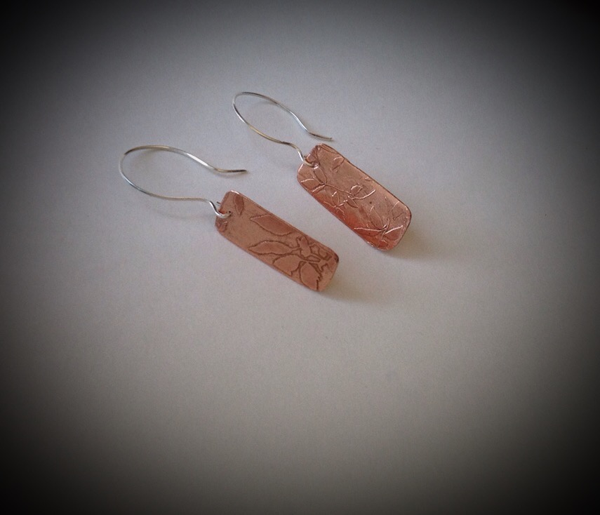 Sterling and Copper Leaf Earrings