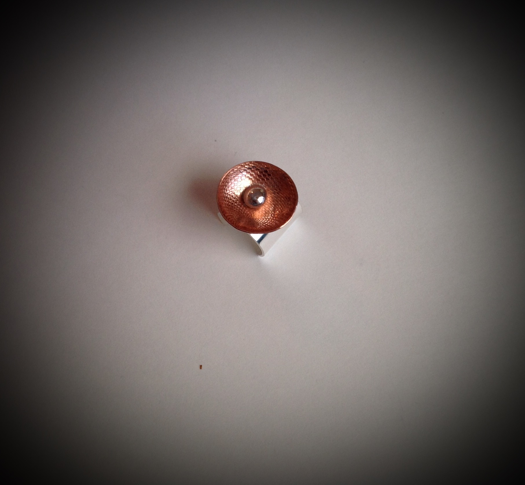 Copper and Sterling Abstract Ring
