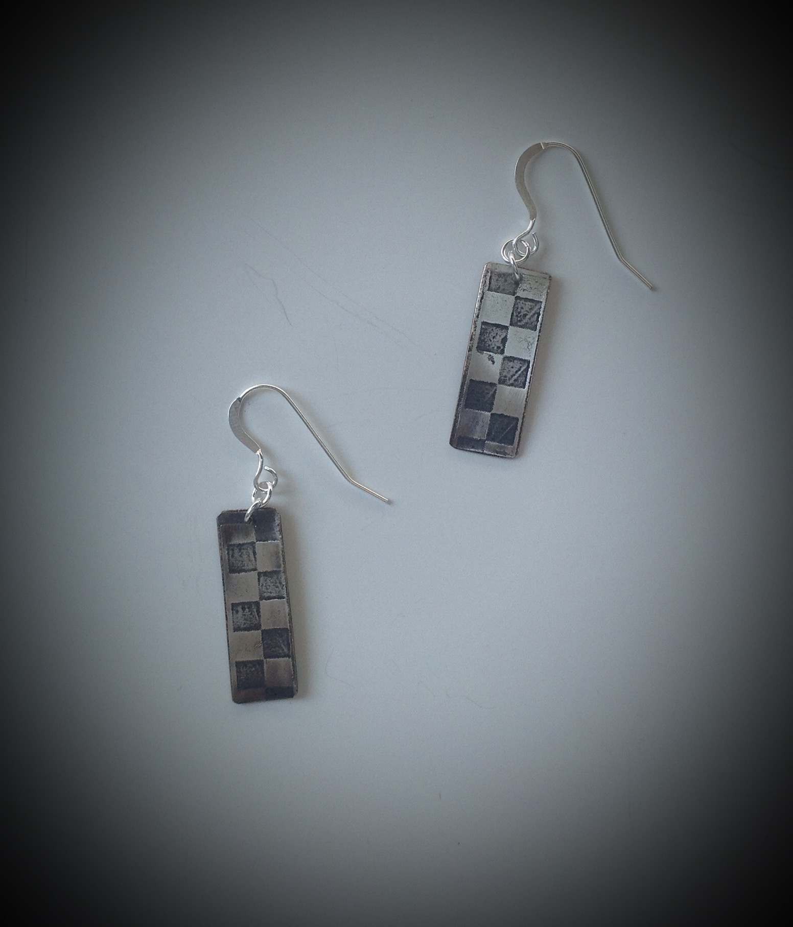 Silver Filled Checkerboard Earrings