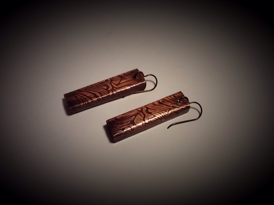 "Niobium & Copper Earrings- Zebra 1"" Long"