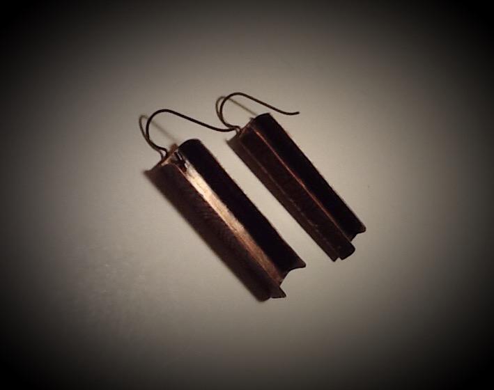 """Niobium & Copper Earrings- Zebra 1"""" Long"""