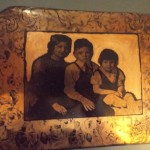 """Copper image transfer, heat patination and ink. 5"""" X 7"""""""